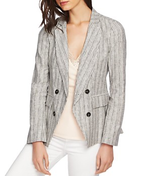 1.STATE - Striped Double-Breasted Blazer