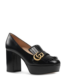 Gucci - Women's Marmont Leather Fringe Platform Pumps