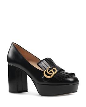 Gucci - Women's Marmont Leather Fringe Platform Pumps