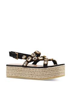 Gucci - Women's Pepita Crystal Espadrille Platform Sandals