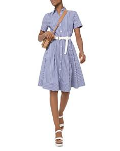 MICHAEL Michael Kors - Striped Pleated A-Line Shirt Dress