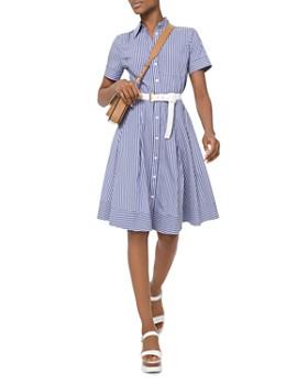 cb41a955cfa MICHAEL Michael Kors - Striped Pleated A-Line Shirt Dress ...