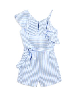 bebe - Girls' Striped Asymmetric Romper - Big Kid