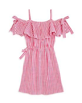 bebe - Girls' Cold-Shoulder Striped Dress - Big Kid