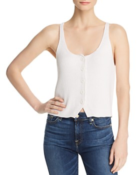 7 For All Mankind - Ribbed-Knit Button-Front Tank