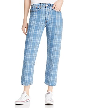 Levi's - Wedgie Cropped Straight Plaid Jeans in Jive Chill