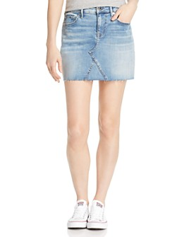 True Religion - Frayed-Hem Denim Mini Skirt