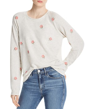 da776d88a10 Monrow - Vintage Embroidered Rose Sweatshirt ...