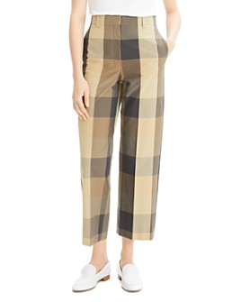 Theory - Cropped Straight-Leg Plaid Pants