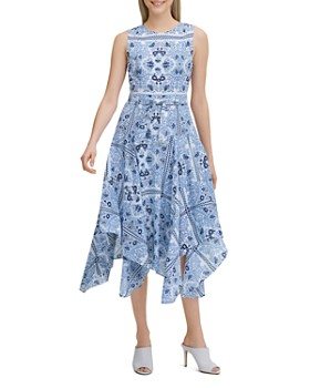 b4a7420ddf377 Calvin Klein - Printed Handkerchief-Hem Dress ...
