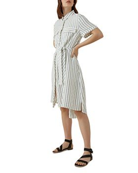 KAREN MILLEN - High/Low Striped Shirt Dress