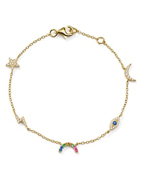 AQUA - Celestial Charm Drop Bracelet in 18K Gold-Plated Sterling Silver - 100% Exclusive