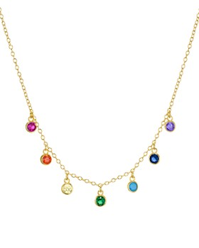 """AQUA - Rainbow Stone Dangle Necklace in 18K Gold-Plated Sterling Silver, 15"""" - 100% Exclusive"""