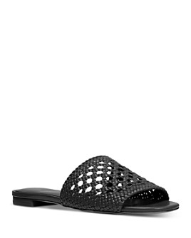 MICHAEL Michael Kors - Women's Augustine Woven Leather Slide Sandals