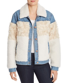Rebecca Taylor - Faux-Fur & Denim Jacket