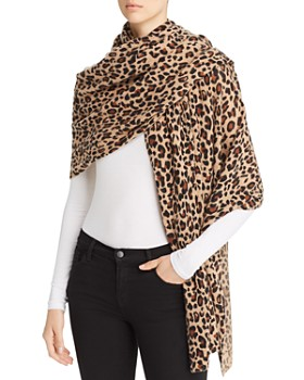 C by Bloomingdale's - Leopard Print Cashmere Travel Wrap - 100% Exclusive