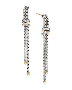 David Yurman - Sterling Silver & 18K Yellow Gold Helena Diamond Chain Drop Earrings