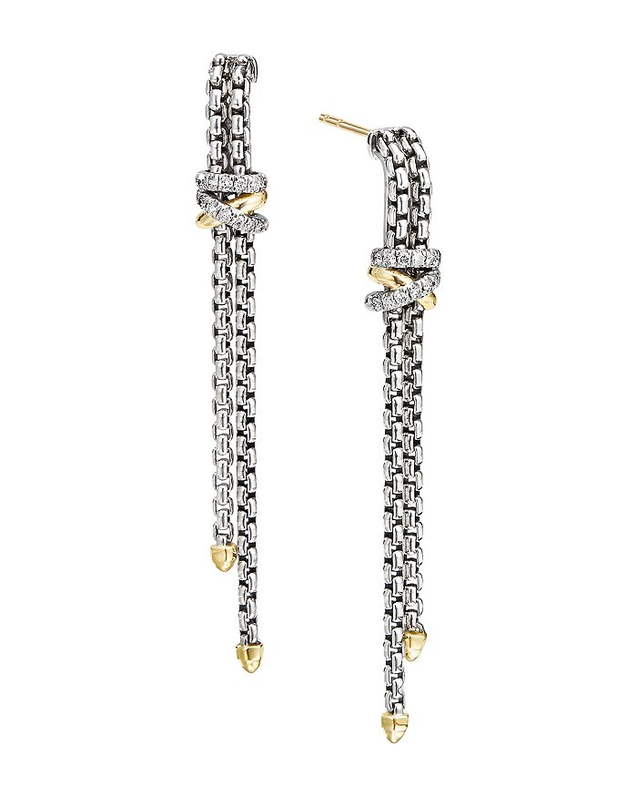 David Yurman - Sterling Silver & 18K Yellow Gold Helena Diamond Chain Drop Earrings