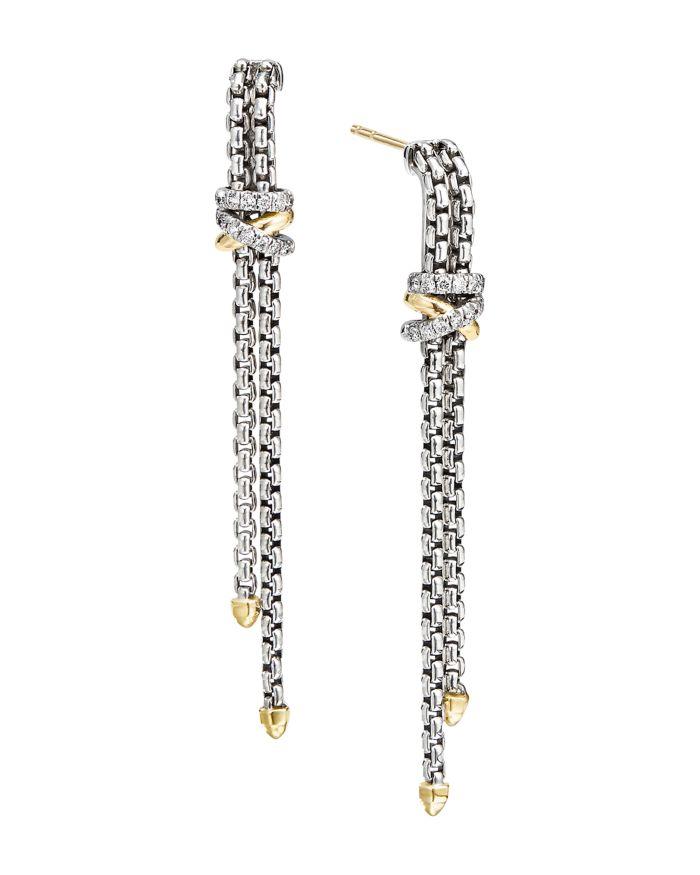 David Yurman Sterling Silver & 18K Yellow Gold Helena Diamond Chain Drop Earrings    Bloomingdale's