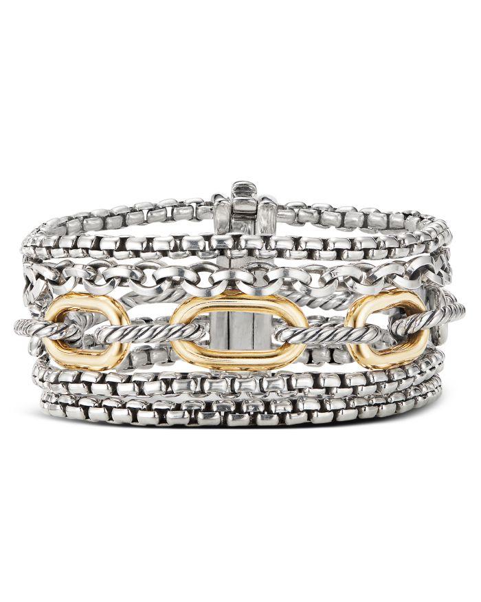 David Yurman Sterling Silver & 18K Yellow Gold Multi-Row Chain Bracelet  | Bloomingdale's