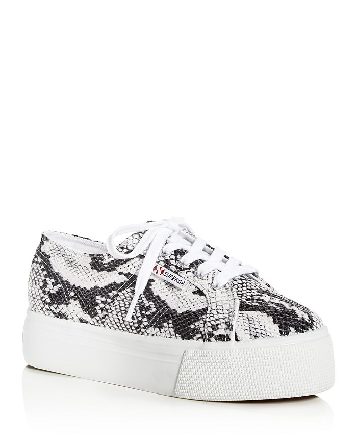 Superga - Women's Snake-Embossed Low-Top Platform Sneakers