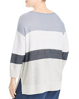Lafayette 148 New York Plus - Chain-Embellished Color-Block Sweater