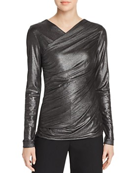 Elie Tahari - Lana Metallic Crossover V-Neck Top