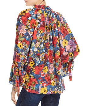 Alice and Olivia - Julius Bell-Sleeve Floral Tunic Top