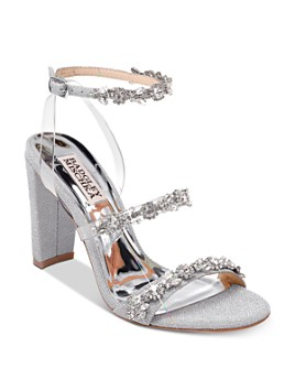 Badgley Mischka - Women's Adel Crystal-Embellished Block Heel Sandals