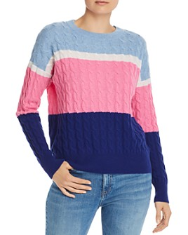 AQUA - Color-Block Cable-Knit Cashmere Sweater - 100% Exclusive