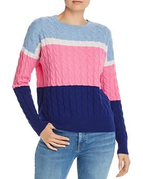 AQUA - Color-Block Cable-Knit Cashmere Sweater - 100% Exclusive