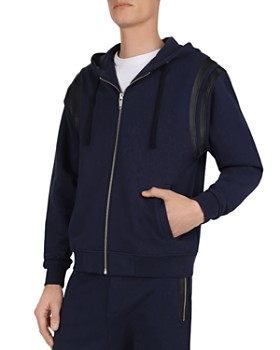 The Kooples - Leather-Trimmed Fleece Zip-Front Hoodie