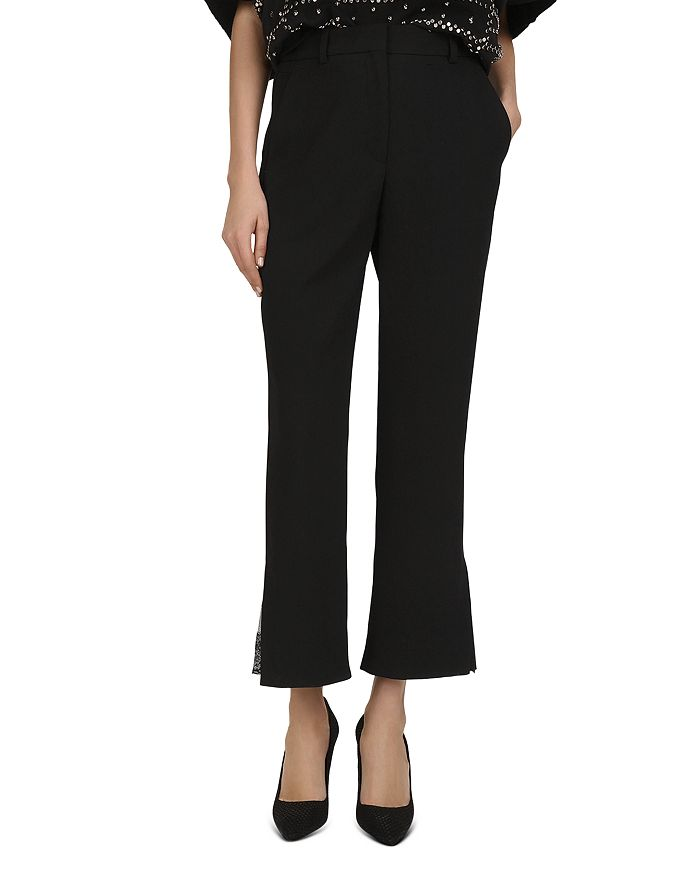 The Kooples - Marta Flared Lace-Inset Crepe Pants
