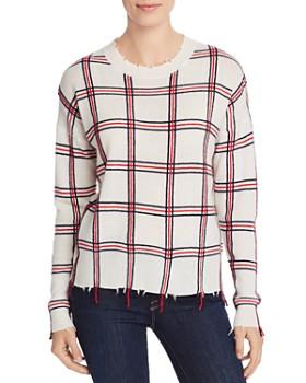 AQUA - Distressed Plaid Cashmere Sweater - 100% Exclusive