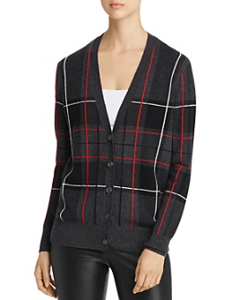 C by Bloomingdale's - Plaid Cashmere Grandfather Cardigan - 100% Exclusive