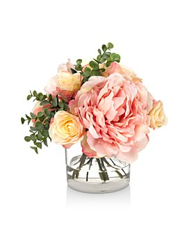 Diane James Home - Blooms Peony & Rose Faux Floral Bouquet in Glass Cylinder