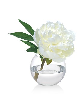 Diane James Home - Peony Faux Floral Arrangement in Glass Vase