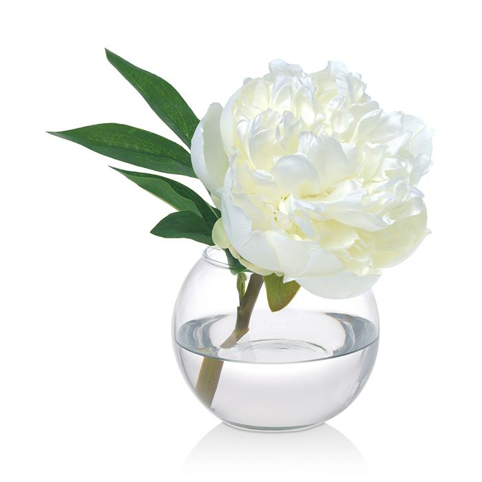 Diane James Home - Peony Faux Floral Arrangement in Glass Vase