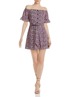 Lost and Wander - Orchid Off-the-Shoulder Floral Mini Dress