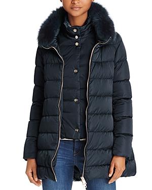 Herno Fox Fur Trim Satin Down Coat-Women