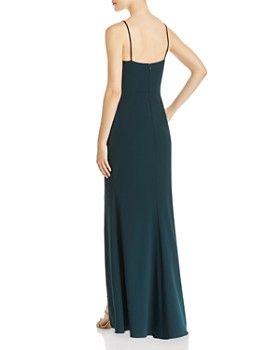 AQUA - Floor-Length Spaghetti-Strap Gown - 100% Exclusive