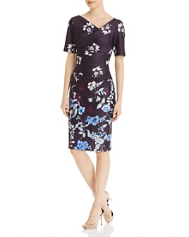 Adrianna Papell - Botanical Draped Scuba Dress