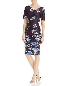 Adrianna Papell - Botanical Draped Scuba Dress