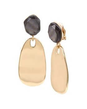 78563a5664be3 Robert Lee Morris Soho - Faceted Sculptural Disc Clip-On Drop Earrings ...