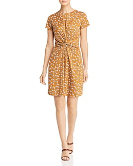 Kenneth Cole - Printed Twist-Front Tee Dress