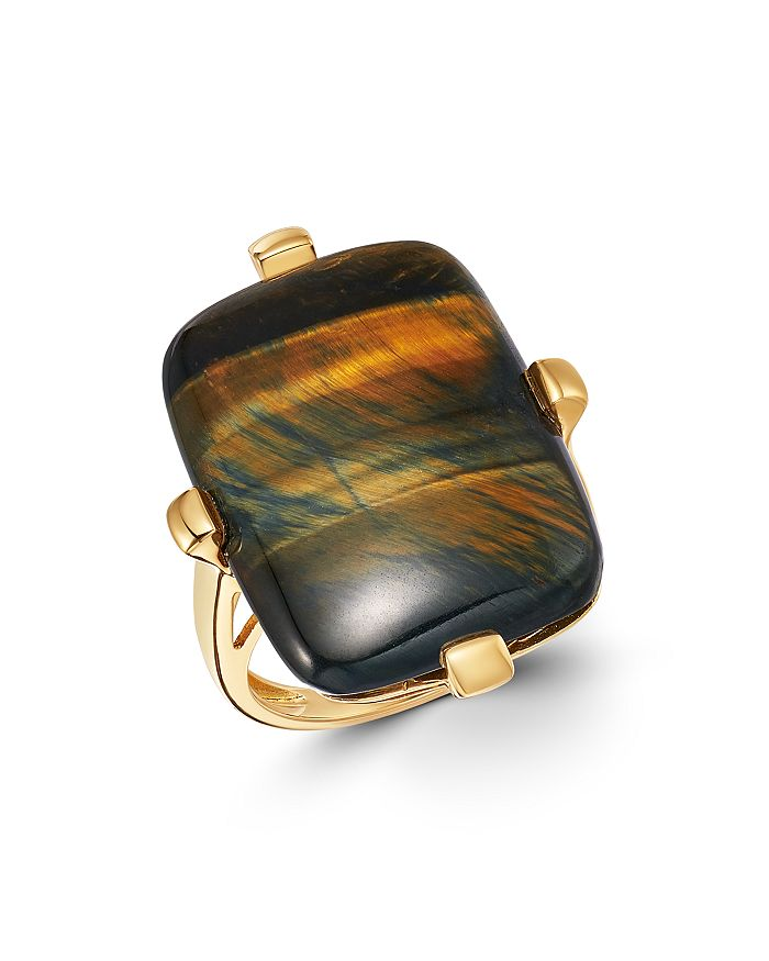 Bloomingdale's - Blue Tiger Eye Statement Ring in 14K Yellow Gold - 100% Exclusive