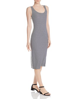 AQUA - Striped Ribbed-Knit Tank Dress - 100% Exclusive