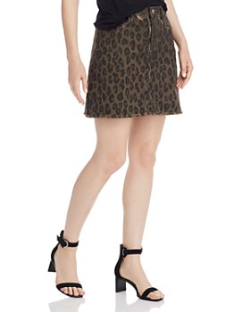 AQUA - Frayed Leopard Print Denim Skirt - 100% Exclusive