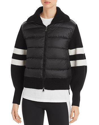 Moncler - Quilted Down & Stripe Sleeve Cardigan