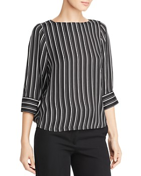 T Tahari - Three-Quarter Sleeve Striped Blouse
